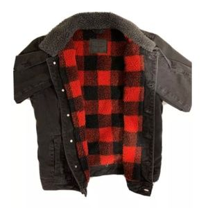 Abercrombie Fitch Mens Flannel-lined Denim Jacket